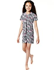 Pure Cotton Hooded Zebra Print Playsuit