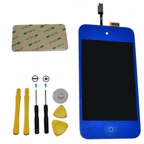 Yagadget Dark Blue Ipod Touch 4Th Generation Digitizer + Lcd Full Assembly + Home Button + 7 Piece Tool Kit + 3M Adhesive