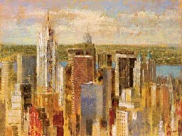 40W x 29H Cityscape II by Michael Longo - Stretched Canvas w/ BRUSHSTROKES