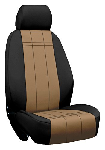 Custom Fit Ford Focus Seat Covers (2012-2014) Front Seat Set - Neo-Supreme In Black W/ Tan - Sport Buckets W/ Adjustable Headrests (Standard On Titanium And St. Optional On Se And Sel) (No Fit On St Model With Recaro Seats)