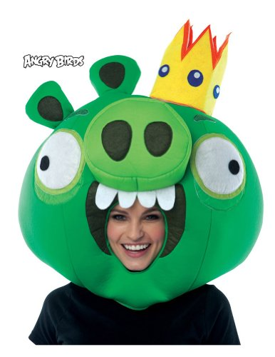 Scary-Masks Angry Birds King Pig Green Mask Halloween Costume - Most Adults