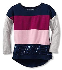 Design History Girl's Colorblock Top, Twilight Blue Combo, 3T from Design History