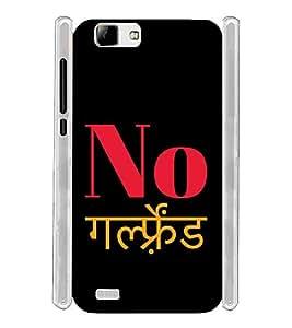 No Girlfriend Hindi Soft Silicon Rubberized Back Case Cover for Vivo V1