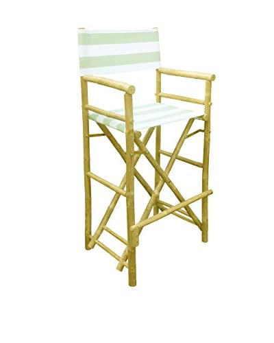 ZEW, Inc. Set of 2 Bamboo High Director Chairs, Celadon Stripes