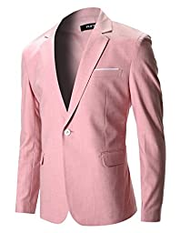 FLATSEVEN Mens Slim Fit Cotton Stylish Casual Blazer Jacket (BJ202) Pink, L
