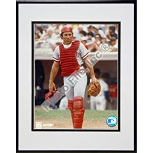 "Johnny Bench, Cincinnati Reds ""Catchers Gear"" Double Matted 8"" X 10"" Photograph in Black Anodized Aluminum Frame"