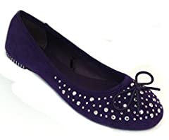 Shoes 18 Womens Ballet flats shoes w/Elastic Bow,Metallic Rhinestones & Studded Heal (9/10, 4056 Eggplant/Silver)