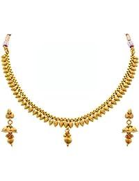 JFL - Traditional Ethnic One Gram Gold Plated Designer Necklace Set / Jewellery Set For Women & Girls
