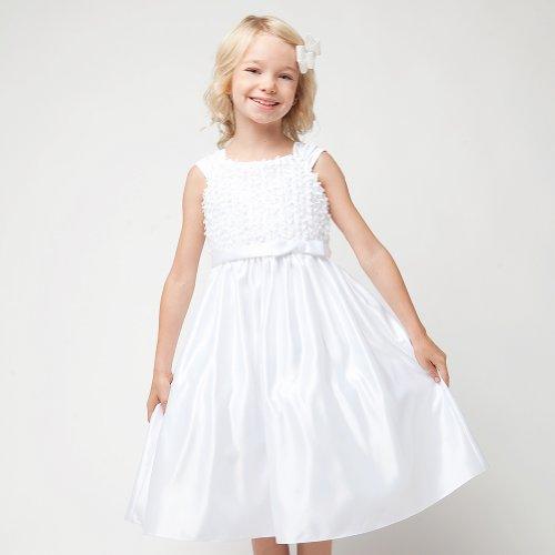 Sweet Kids Girls 8 Satin Bow Tea Length First Communion Dress