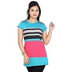 Prova Light Blue and Pink Half Sleeve Women's Cotton Shirt (Size: X-Large)