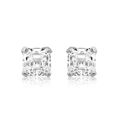 Classic Asscher Cut Square 7.5mm CZ Sterling Silver Stud Earrings