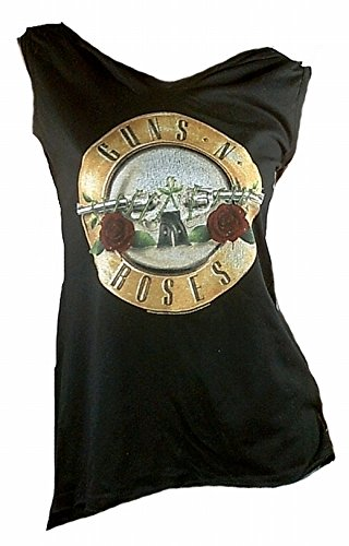 Amplificato Donna Lady Designer Top Shirt Nero Merchandise ufficiale GUNS N ROSES Logo protonics per Rock Star sweer ViP Rock Star nero 42