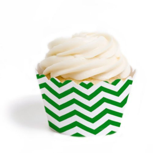 Dress My Cupcake Mini Cupcake Wrappers, Chevron, Kelly Green, Set of 18 (Kelly Cup compare prices)