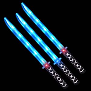 Deluxe Ninja LED Light up Sword with Motion Activated Clanging Sounds (3-Pack)
