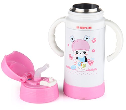 Wantdo Children'S Sippy Cups Warm Keep Bottle With Handle Pink 350Ml