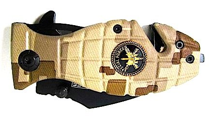 """Camo Grenade Special Force with Grenade Stainless Blade Design Pocket Knife 3.5"""""""