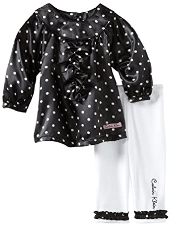 Calvin Klein Baby-girls Infant Polka Dots Print Tunic With Leggings, Black/White, 12 Months