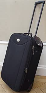 Black Small 48 Lts Travel Luggage Suitcase On Wheels Expanding Trolly Light Weight