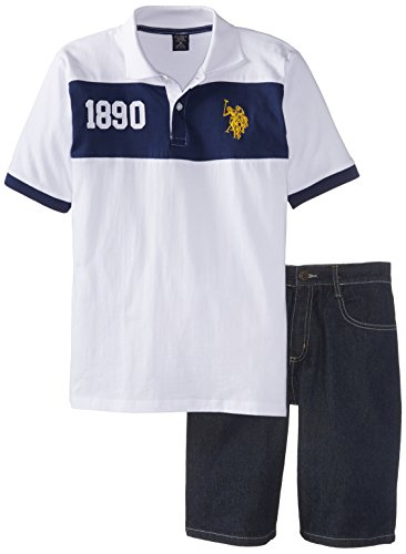 U.S. Polo Assn. Big Boys' Chest Stripe Jersey Polo And Denim Short Set, Classic Navy, 10