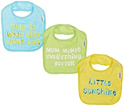 Gerber Unisex-Baby Newborn 3 Pack Terry Bib with Sayings Green, Green, One Size