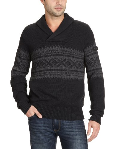 Mens Ben Sherman Jumper Shawl Collar with Placement Fairisle [Small]