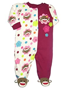 Sock Monkey Flower Baby Girl Sleep N Play Footie by Baby Starters