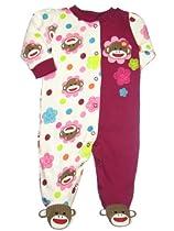 Sock Monkey Flower Baby Girl Sleep N Play Footie by Baby Starters - Pink - 9 Mths / 16-20 Lbs