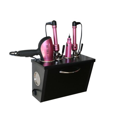 POJJO - Curling Iron, Blow Dryer, and Flat Iron Holder - Wall Mount (Black) (Blow Dryer And Flat Iron Holder compare prices)
