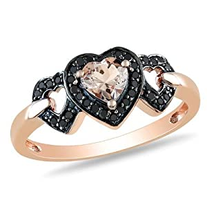 Pink Gold Heart Shaped Morganite Multi Stone Ring Size: 7