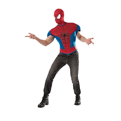 Rubie's Costume Men's Marvel Universe, The Amazing Spider-man 2 Muscle-chest T-shirt Costume Top, Multicolor, One Size