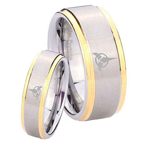 star trek concave black two tone ringcheck price klingon - Star Trek Wedding Ring
