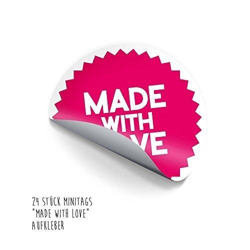 """""""MADE WITH LOVE 24adesivi grande per 3cm, autoadesiva Mini etichette per regali, IT, biscotti e la sua."""