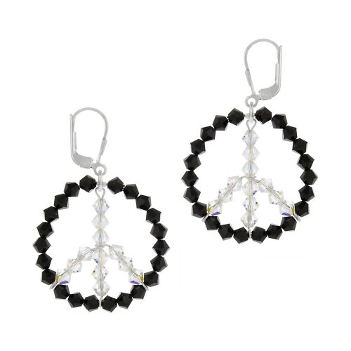 Sterling Silver Swarovski Elements Black Circle with Aurorae Boreale Peace-Sign Center Lever Back Earrings