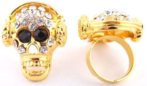 Ladies Gold Iced Out Skull with Headphones Adjustable Finger Ring