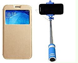 Novo Style Samsung Galaxy Grand Prime G530 Window View Premium Folio Flip Cover Case W Stand View+ Wired Selfie Stick No Battery Charging Premium Sturdy Design Best Pocket SizedSelfie Stick