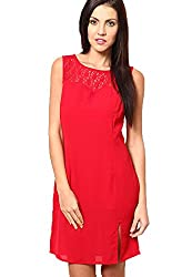 OVIYA Red Cotton Lace Dress