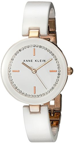 Anne Klein Women's AK/1314RGWT White Ceramic Bangle Watch with Swarovski Crystal Accents