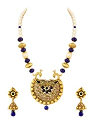 Voylla Necklace Set In Peacock Motif With Blue Color Stones