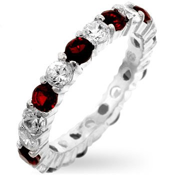 ETERNITY BAND - Sterling Silver Ruby Red and Clear CZ Wedding Band