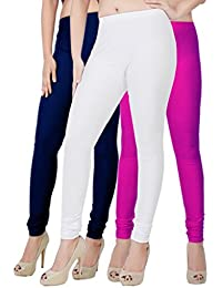 Fashion And Freedom Women's Pack Of 3 Navy,White And Magenta Satin Leggings