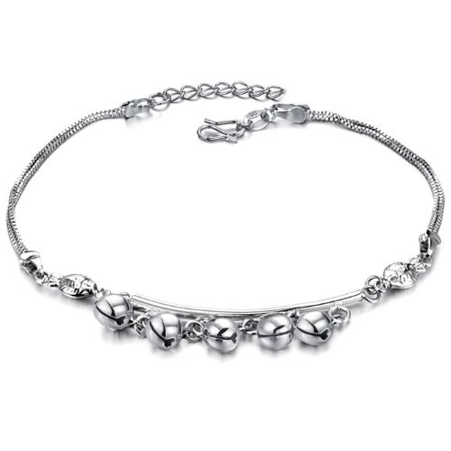 Opk Jewellery Fashion Adjustable Women's Anklet Bracelet 18K White Gold Plated Silver 6mm Bells Pendants Foot Chain New Design Stylish Personality Gift Never Fade And Nickle Free 9.84 Inch Length 6.5g Weight