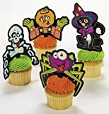 Plastic Halloween Character Cupcake Picks (Pack of 24)
