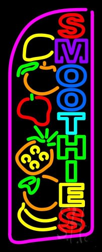 """Multi Colored Double Stroke Smoothies Outdoor Neon Sign 13"""" Tall X 32"""" Wide X 3.5"""" Deep front-110678"""