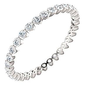 14kt White 3/4 CTW Diamond Eternity Band Size 6.5 in 14k White Gold