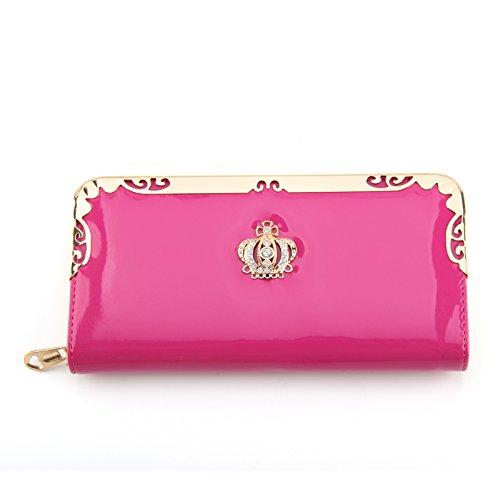 MultiWare Solid Wallet Women Long Purse Hot Pink
