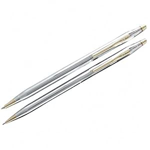 Cross Classic Century, Medalist Ballpoint Pen and 0.7mm Pencil Set, Polished Chrome with 23 Karat Gold Plated Appointments (330105)