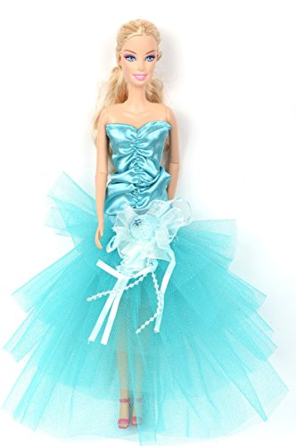 Banana Kong Lovely Girl Doll's Light Blue Strapless Alluring Party Gown