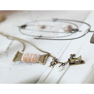 GetKlassische Nähmaschine Form-Legierungs-Anhänger Halskette (1 Stk.) , Rosa
