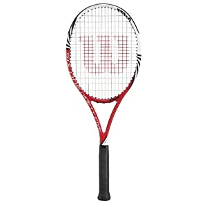 Wilson 2012 Six.One 95 (16 x 18) BLX Tennis Racquet - Red/White/Black
