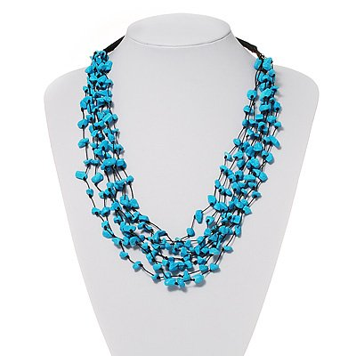 Turquoise Style Multistrand Cotton Cord Necklace